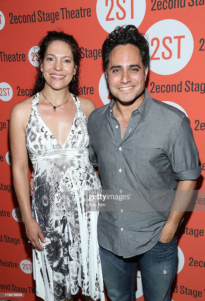 Rajiv Joseph and Giovanna Sardelli attend 'Nobody Loves You' Opening Night After Party at HB Burger on July 18, 2013 in New York City.