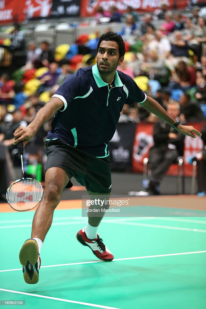 Rajiv Ouseph of England in action during Day Two of the London Badminton Grand Prix at The Copper Box on October 2, 2013 in London, England.