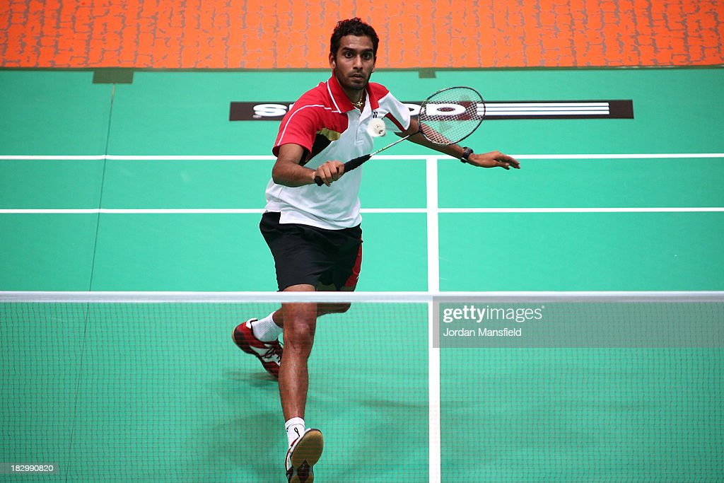 Rajiv Ouseph of England in action in his mens singles match against Hsu Jui Ting of Chinese Taipei during Day 3 of the London Badminton Grand Prix at The Copper Box on October 3, 2013 in London, England.
