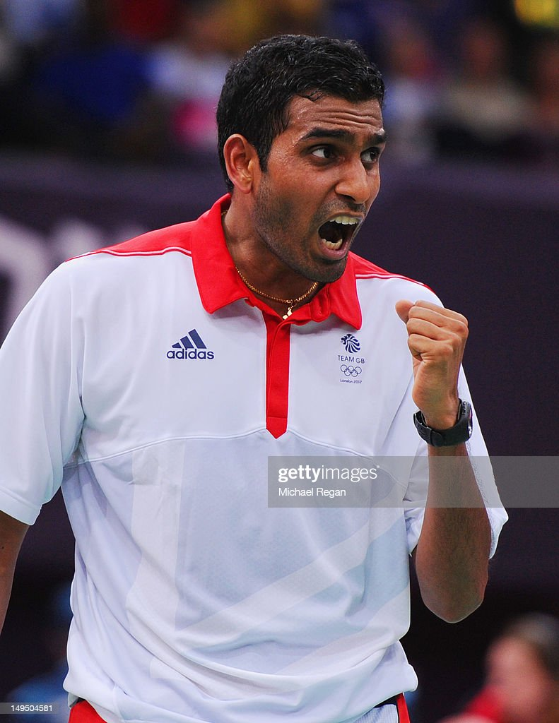 Rajiv Ouseph of Great Britain celebrates a point against Henri Hurskainen of Sweden in their Men's Singles Badminton on Day 2 of the London 2012 Olympic Games at Wembley Arena on July 29, 2012 in London, England.