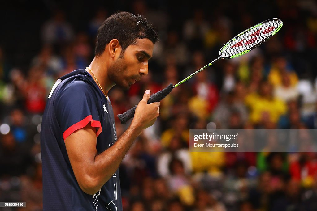 Rajiv Ouseph of Great Britain or Team GB competes against Petr Koukal of Great Britain in the mens Badminton Singles on Day 6 of the 2016 Rio Olympics at Riocentro - Pavilion 4 on August 12, 2016 in Rio de Janeiro, Brazil.