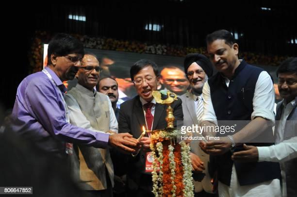 Rajiv Pratap Rudy Union Minister of State Skill Development and Entrepreneurship along with Madhya Pradesh Chief Minister Shivraj Singh Chouhan and...