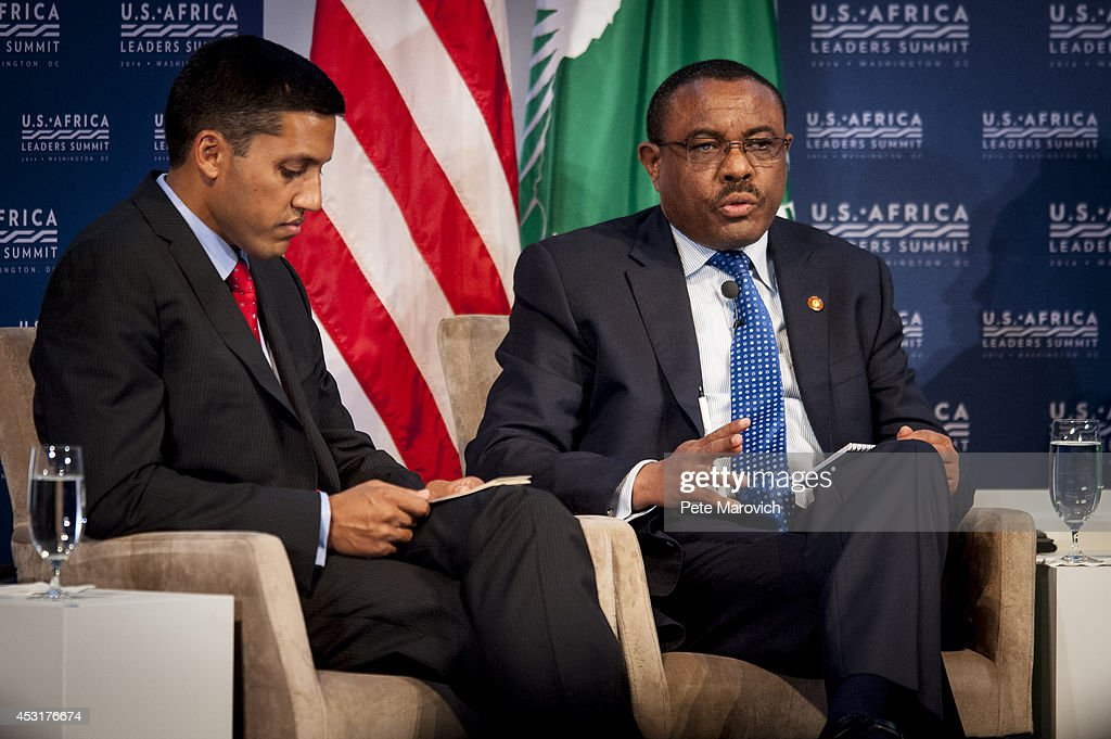 Rajiv Shah, administrator, U.S. Agency for International Development, listens as the Prime Minister of Eithiopia, Hailemariam Desalegn, speaks at the Resilience and Food Security in Changing Climate Forum at the National Academy of Sciences as part of the first U.S.-Africa Leaders Summit on August 4, 2014 in Washington, DC. The event brings together U.S. and African government leaders, members of African and U.S. civil society and the diaspora, and private sector leaders, focusing on using the knowledge and experience of citizens and civil society to solve the key challenges of our time.
