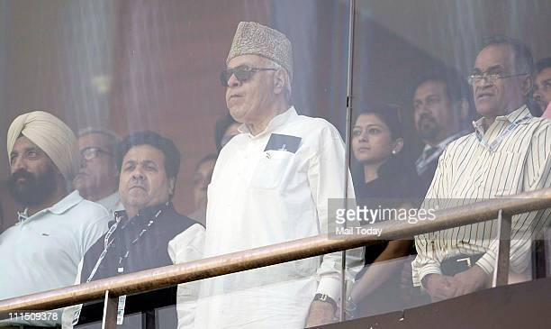Rajiv Shukla and Farooq Abdullah watching the ICC Cricket World Cup 2011 Final match at The Wankhede Stadium in Mumbai on April 2 2011 India beat Sri...