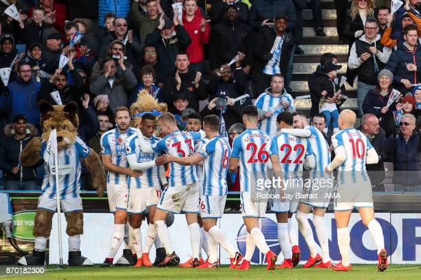 Rajiv Van La Parra of Huddersfield Town celebrates after scoring a goal to make it 10 during the Premier League match between Huddersfield Town and...