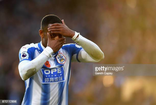 Rajiv van La Parra of Huddersfield Town celebrates scoring his sides first goal during the Premier League match between Huddersfield Town and West...