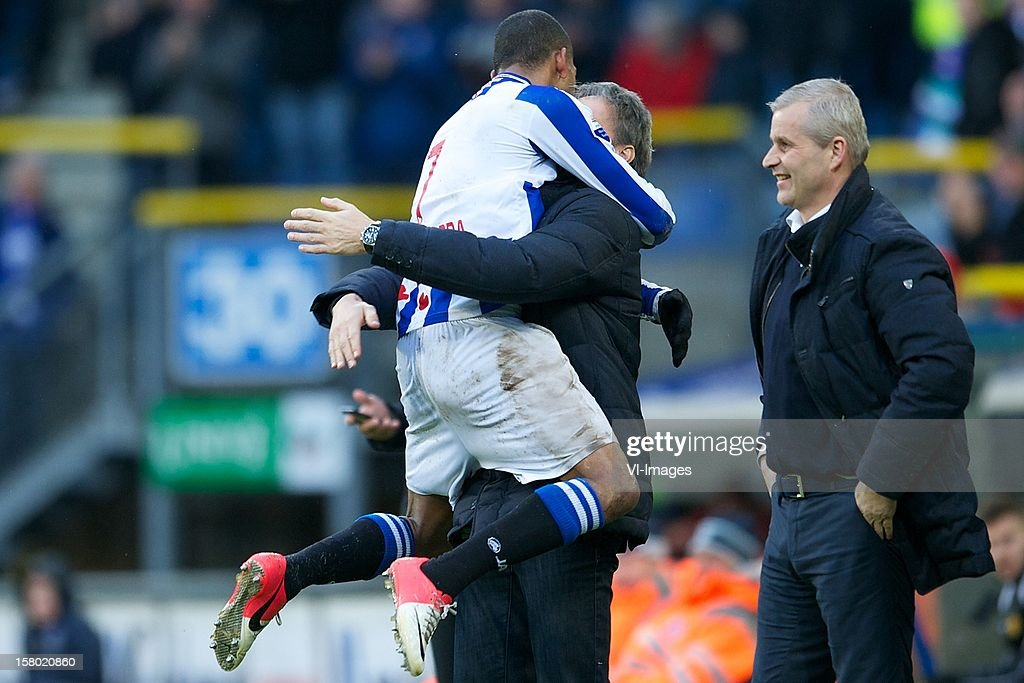 Rajiv van La Parra of SC Heerenveen, coach Marco van Basten of SC Heerenveen, assistant trainer Henk Herder of SC Heerenveen during the Dutch Eredivisie match between SC Heerenveen and Roda JC Kerkrade at the Abe Lenstra Stadium on December 09, 2012 in Heerenveen, The Netherlands.