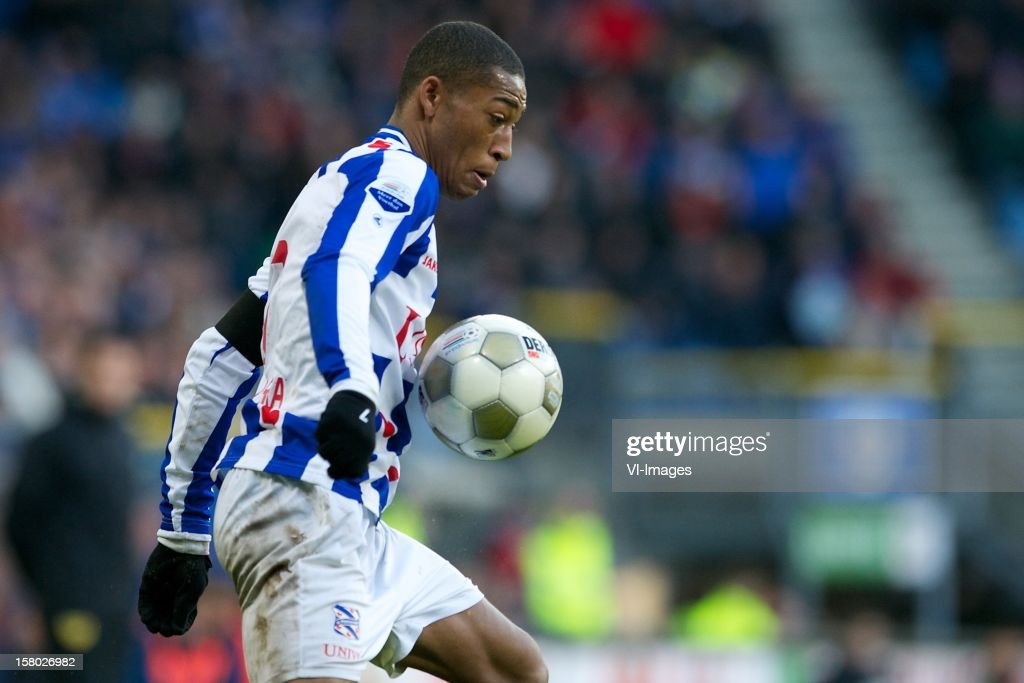 Rajiv van La Parra of SC Heerenveen during the Dutch Eredivisie match between SC Heerenveen and Roda JC Kerkrade at the Abe Lenstra Stadium on December 09, 2012 in Heerenveen, The Netherlands.