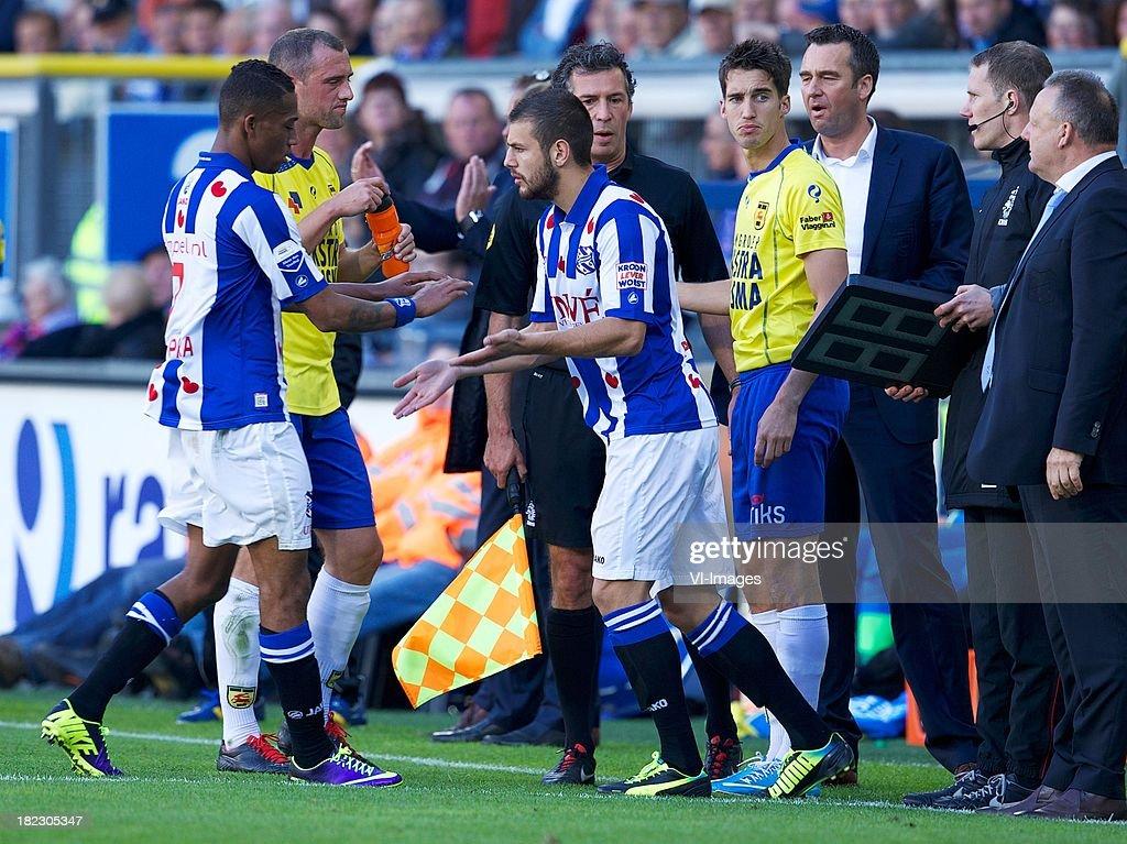 Rajiv van la Parra of sc Heerenveen, Samir Fazli of sc Heerenveen during the Dutch Eredivisie match between sc Heerenveen and SC Cambuur Leeuwarden on September 29, 2013 at the Abe Lenstra stadium in Heerenveen, The Netherlands.
