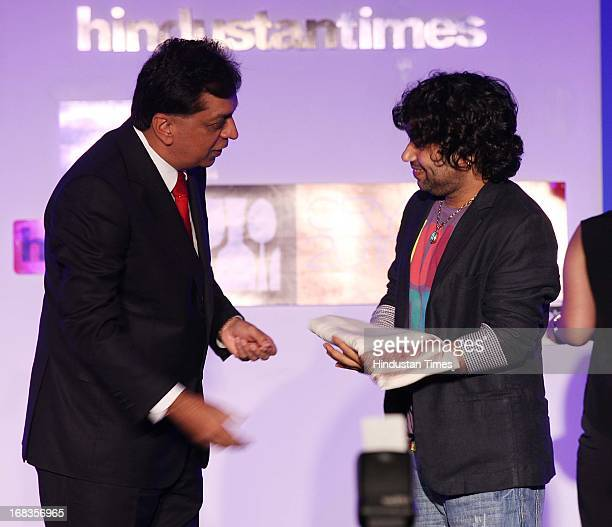 Rajiv Verma Ceo Hindustan Times and Kailash Kher during HT City Crystal Awards being held at Maurya Sheraton Hotel on October 29 2010 in New Delhi...