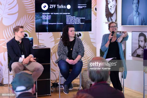 Rajko Jazbec Franziska Sonder and Corinna Marschall discuss during the ZFF Talk with producers during the 13th Zurich Film Festival on September 29...