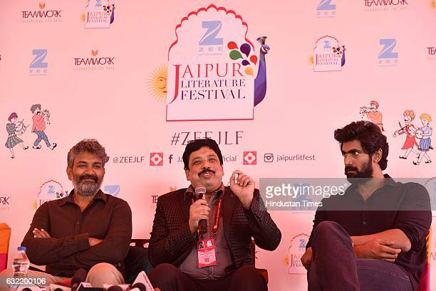 SS Rajmouli Anand Neelankantan and Rana Daggubati during a press conference at the Jaipur Literature Fest 2017 on January 20 2017 in Jaipur India