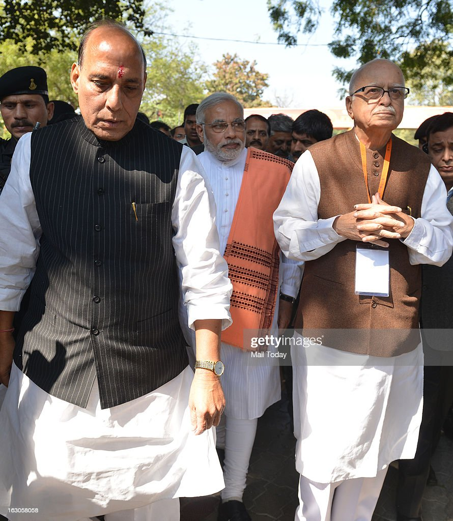 Rajnath Singh and LK Advani during the BJP National Council meeting in New Delhi on Saturday.