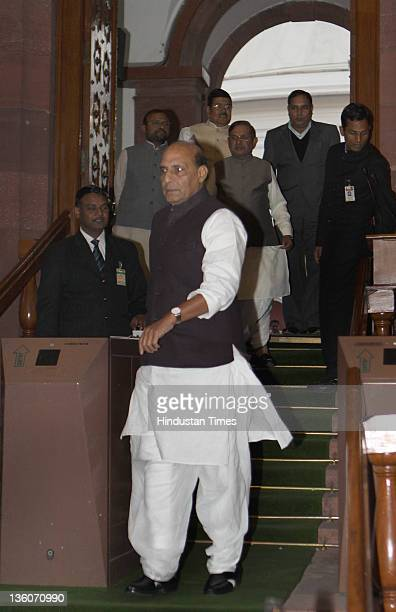 Rajnath Singh BJP Leader leaves parliament house after attending ongoing parliament winter session on December 22 2011 in New Delhi India Two bills...