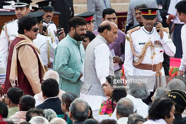 Rajnath Singh president of the Baratiya Janata Party and new cabinet minister of India center and Shatrughan Sinha member of the Baratiya Janata...