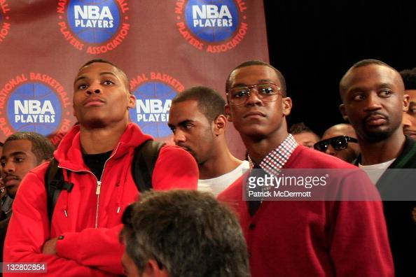Rajo Rondo and Russell Westbrook attend a press conference after National Basketball Players Association met to discuss the current CBA offer at...