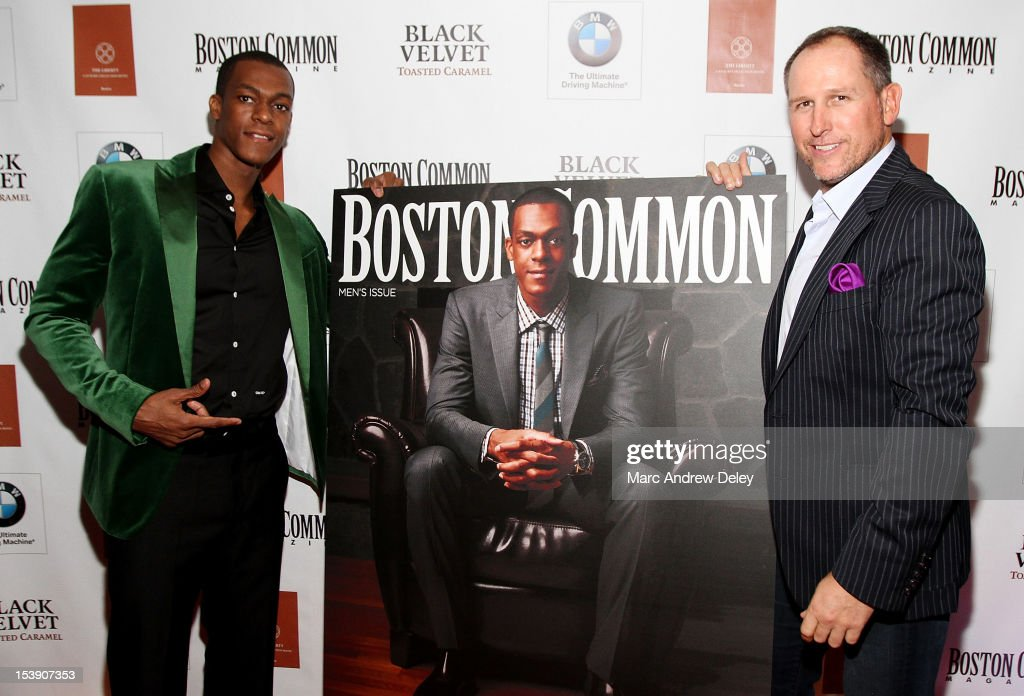 <a gi-track='captionPersonalityLinkClicked' href=/galleries/search?phrase=Rajon+Rondo&family=editorial&specificpeople=206983 ng-click='$event.stopPropagation()'>Rajon Rondo</a> and Glen Kelley, Boston Common Publisher arrive as Boston Common Magazine Celebrates Boston Celtics Star <a gi-track='captionPersonalityLinkClicked' href=/galleries/search?phrase=Rajon+Rondo&family=editorial&specificpeople=206983 ng-click='$event.stopPropagation()'>Rajon Rondo</a> at The Liberty Hotel on October 10, 2012 in Boston, Massachusetts.