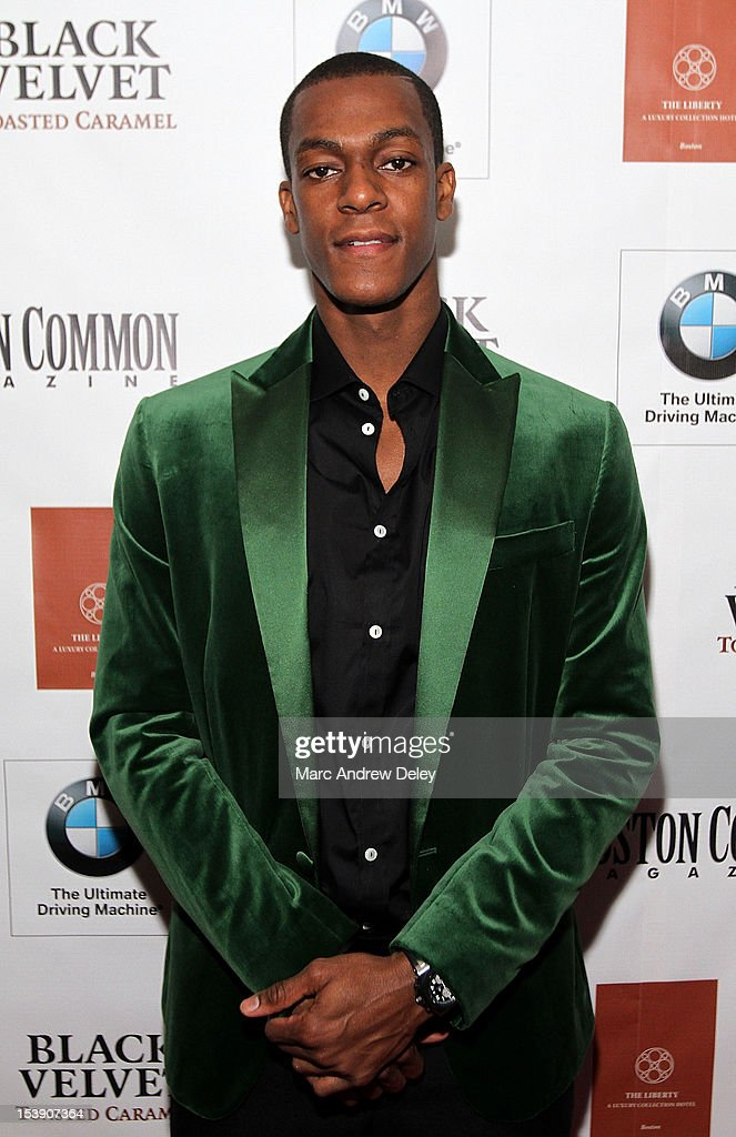 <a gi-track='captionPersonalityLinkClicked' href=/galleries/search?phrase=Rajon+Rondo&family=editorial&specificpeople=206983 ng-click='$event.stopPropagation()'>Rajon Rondo</a> arrives as Boston Common Magazine Celebrates Boston Celtics Star <a gi-track='captionPersonalityLinkClicked' href=/galleries/search?phrase=Rajon+Rondo&family=editorial&specificpeople=206983 ng-click='$event.stopPropagation()'>Rajon Rondo</a> at The Liberty Hotel on October 10, 2012 in Boston, Massachusetts.