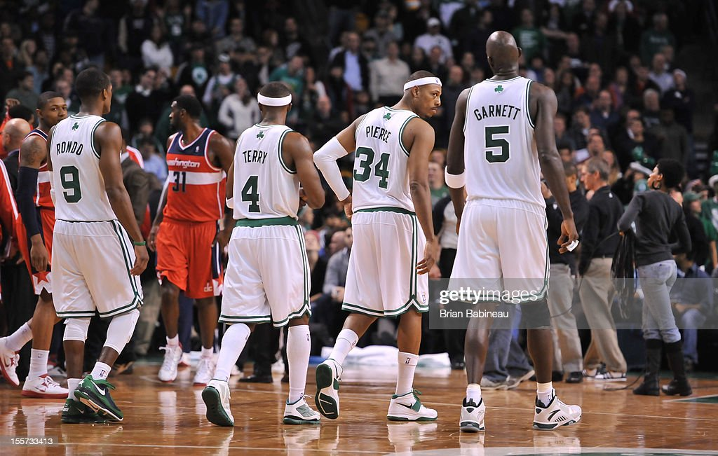Rajon Rondo #9 ,Jason Terry#4 ,Paul Pierce #34 and Kevin Garnett #5 of the Boston Celtics walk to the foul line against the Washington Wizards on November 7, 2012 at the TD Garden in Boston, Massachusetts.