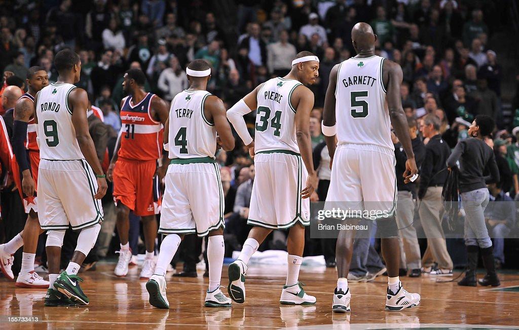 Rajon Rondo #9 ,Jason Terry#4 ,Paul Pierce #34 and Kevin Garnett #5 of the Boston Celtics walk to the foul line against the Washington Wizards on November 7, 2012 at the TD Garden in Boston, Massachusetts.