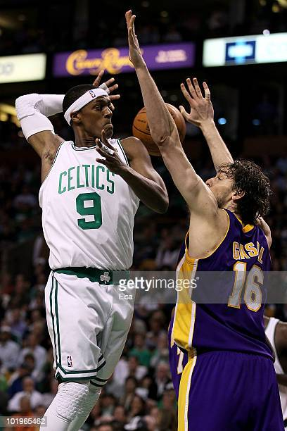 Rajon Rondo of the Boston Celltics passes the ball over Pau Gasol of the Los Angeles Lakers during Game Four of the 2010 NBA Finals on June 10 2010...