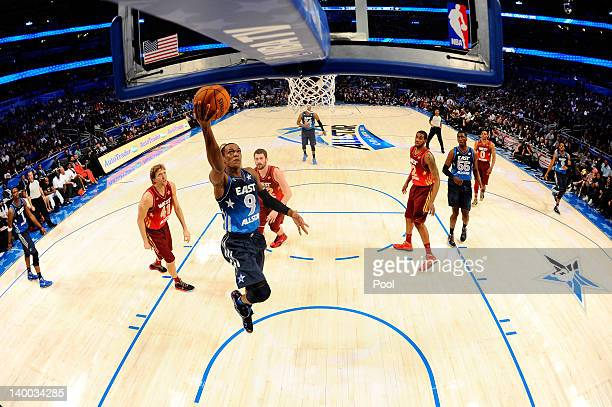 Rajon Rondo of the Boston Celtics and the Eastern Conference drives for a shot attempt during the 2012 NBA AllStar Game at the Amway Center on...