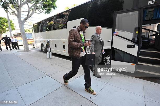 Rajon Rondo of the Boston Celtics arrives for the game against the Los Angeles Lakers in Game Six of the 2010 NBA Finals on June 15 2010 at Staples...