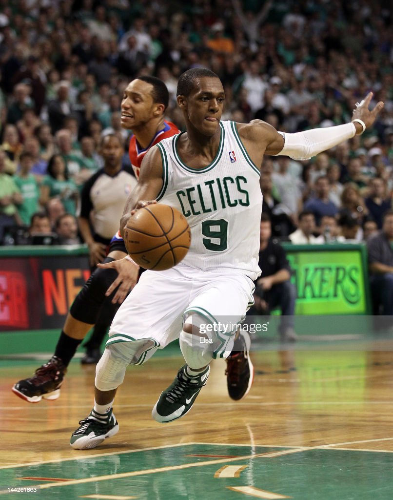 <a gi-track='captionPersonalityLinkClicked' href=/galleries/search?phrase=Rajon+Rondo&family=editorial&specificpeople=206983 ng-click='$event.stopPropagation()'>Rajon Rondo</a> #9 of the Boston Celtics avoids <a gi-track='captionPersonalityLinkClicked' href=/galleries/search?phrase=Evan+Turner&family=editorial&specificpeople=4665764 ng-click='$event.stopPropagation()'>Evan Turner</a> #12 of the Philadelphia 76ers in the final seconds of the of Game One of the Eastern Conference Semifinals in the 2012 NBA Playoffs on May 12, 2012 at TD Garden in Boston, Massachusetts. The Boston Celtics defeated the Philadelphia 76ers 92-91.