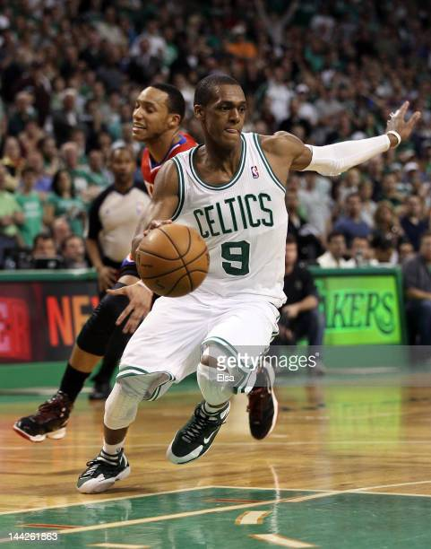 Rajon Rondo of the Boston Celtics avoids Evan Turner of the Philadelphia 76ers in the final seconds of the of Game One of the Eastern Conference...