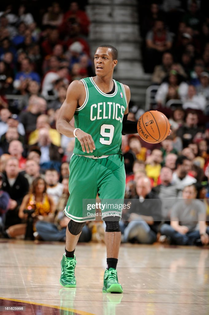 Rajon Rondo #9 of the Boston Celtics brings the ball up the court against the Cleveland Cavaliers at The Quicken Loans Arena on January 22, 2013 in Cleveland, Ohio.