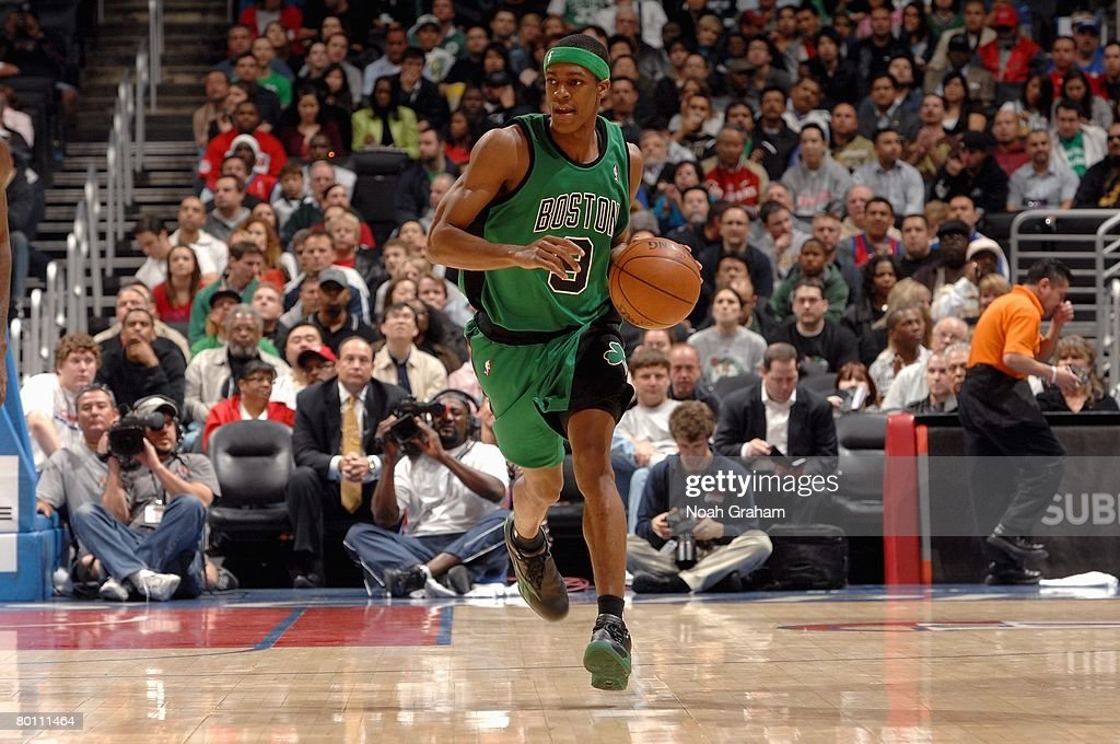 Rajon Rondo #9 of the Boston Celtics brings the ball upcourt during the game against the Los Angeles Clippers on February 25, 2007 at Staples Center in Los Angeles, California. The Celtics won 104-76.