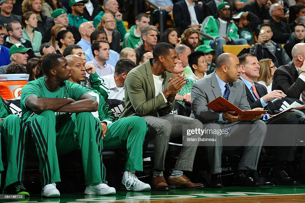 <a gi-track='captionPersonalityLinkClicked' href=/galleries/search?phrase=Rajon+Rondo&family=editorial&specificpeople=206983 ng-click='$event.stopPropagation()'>Rajon Rondo</a> #9 of the Boston Celtics cheers his teammates on from the bench during the game against the Utah Jazz on November 6, 2013 at the TD Garden in Boston, Massachusetts.