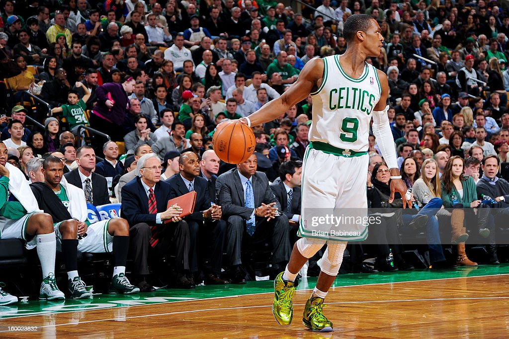 Rajon Rondo #9 of the Boston Celtics controls the ball against the New York Knicks on January 24, 2013 at the TD Garden in Boston, Massachusetts.