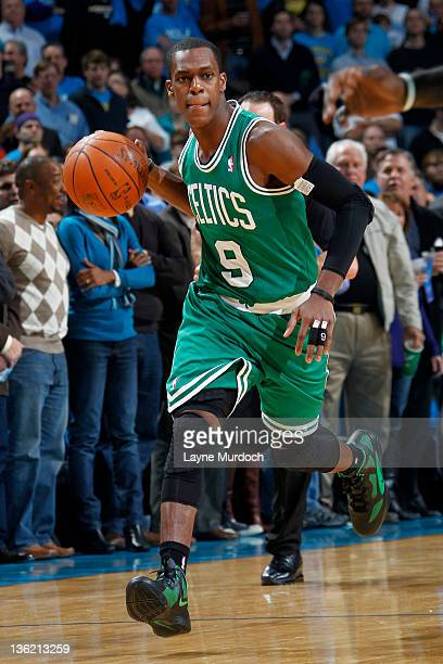 Rajon Rondo of the Boston Celtics controls the ball during the first quarter of the New Orleans Hornets home opener on December 28 2011 at the New...