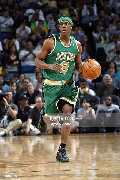 Rajon Rondo of the Boston Celtics dribbles against the New Orleans Hornets during the game at the New Orleans Arena on March 22 2008 in New Orleans...