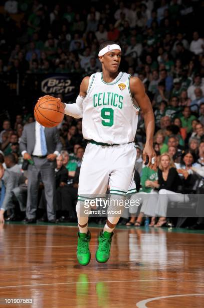 Rajon Rondo of the Boston Celtics dribbles during Game Three of the 2010 NBA Finals on June 8 2010 at TD Garden in Boston Massachusetts NOTE TO USER...