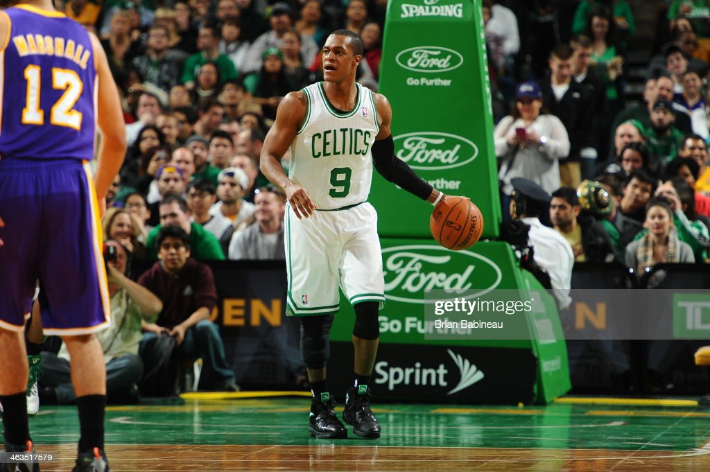 <a gi-track='captionPersonalityLinkClicked' href=/galleries/search?phrase=Rajon+Rondo&family=editorial&specificpeople=206983 ng-click='$event.stopPropagation()'>Rajon Rondo</a> #9 of the Boston Celtics dribbles the ball against the Los Angeles Lakers on January 17, 2014 at the TD Garden in Boston, Massachusetts.