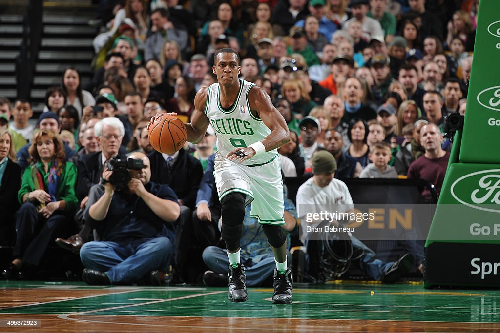 <a gi-track='captionPersonalityLinkClicked' href=/galleries/search?phrase=Rajon+Rondo&family=editorial&specificpeople=206983 ng-click='$event.stopPropagation()'>Rajon Rondo</a> #9 of the Boston Celtics dribbles the ball against the Philadelphia 76ers on April 4, 2014 at the TD Garden in Boston, Massachusetts.