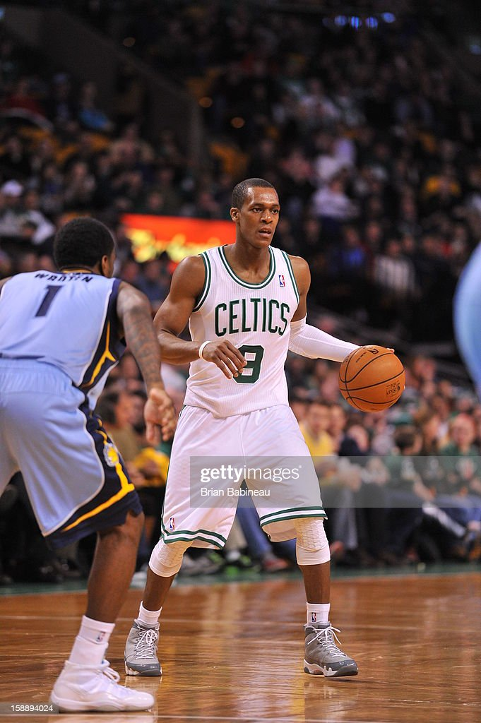 Rajon Rondo #9 of the Boston Celtics dribbles the ball while scanning the court for an open man against the Memphis Grizzlies on January 2, 2013 at the TD Garden in Boston, Massachusetts.