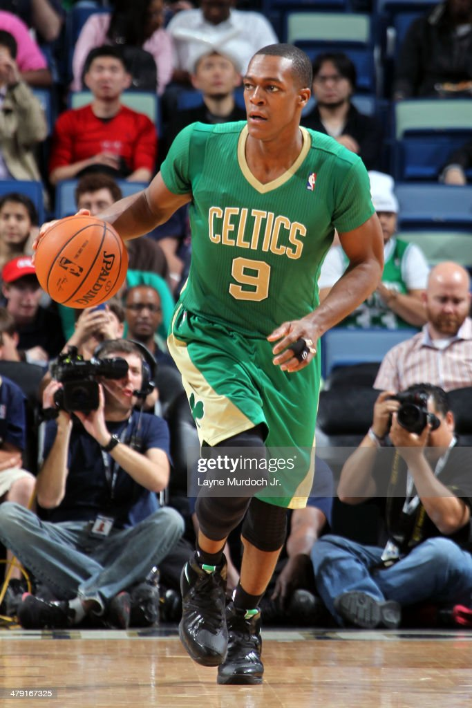 <a gi-track='captionPersonalityLinkClicked' href=/galleries/search?phrase=Rajon+Rondo&family=editorial&specificpeople=206983 ng-click='$event.stopPropagation()'>Rajon Rondo</a> #9 of the Boston Celtics dribbles up the court against the New Orleans Pelicans during an NBA game on March 16, 2014 at the Smoothie King Center in New Orleans, Louisiana.