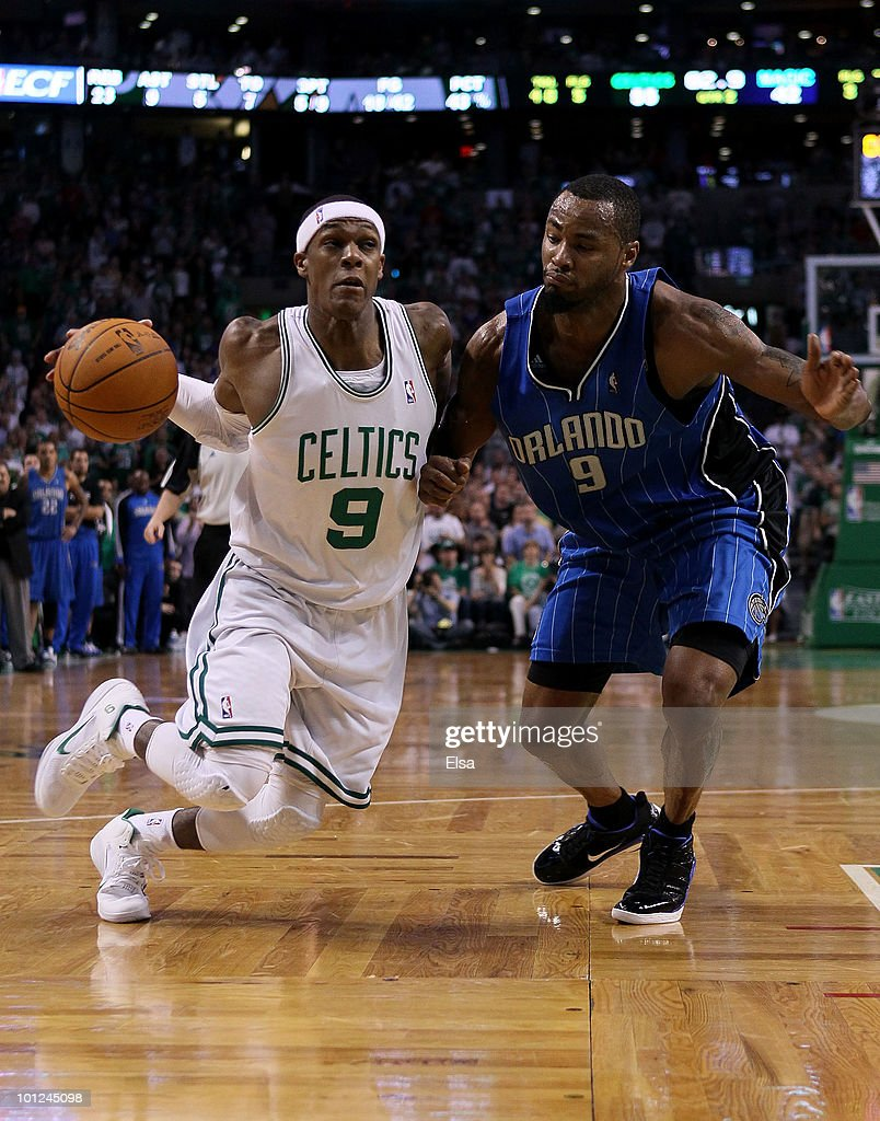<a gi-track='captionPersonalityLinkClicked' href=/galleries/search?phrase=Rajon+Rondo&family=editorial&specificpeople=206983 ng-click='$event.stopPropagation()'>Rajon Rondo</a> #9 of the Boston Celtics drives against <a gi-track='captionPersonalityLinkClicked' href=/galleries/search?phrase=Rashard+Lewis&family=editorial&specificpeople=201713 ng-click='$event.stopPropagation()'>Rashard Lewis</a> #9 of the Orlando Magic in Game Six of the Eastern Conference Finals during the 2010 NBA Playoffs at TD Garden on May 28, 2010 in Boston, Massachusetts.