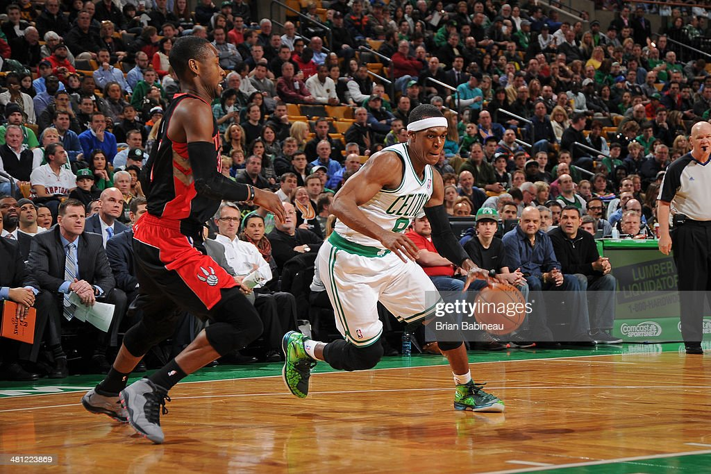<a gi-track='captionPersonalityLinkClicked' href=/galleries/search?phrase=Rajon+Rondo&family=editorial&specificpeople=206983 ng-click='$event.stopPropagation()'>Rajon Rondo</a> #9 of the Boston Celtics drives against the Toronto Raptors on March 26, 2014 at the TD Garden in Boston, Massachusetts.