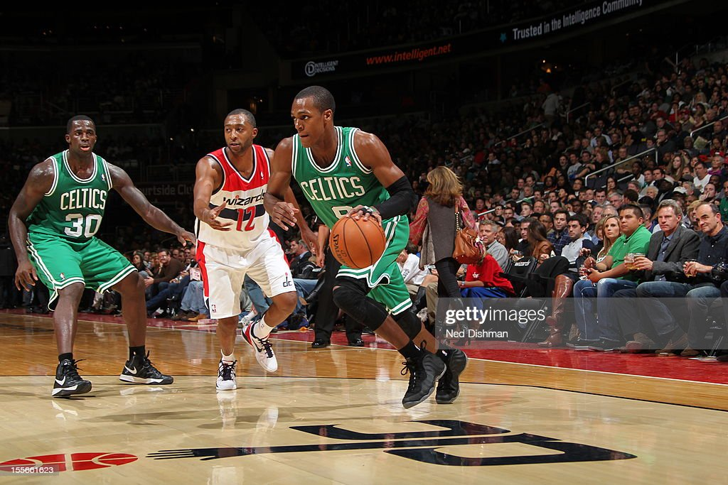 Rajon Rondo #9 of the Boston Celtics drives baseline against the Boston Celtics at the Verizon Center on November 3, 2012 in Washington, DC.
