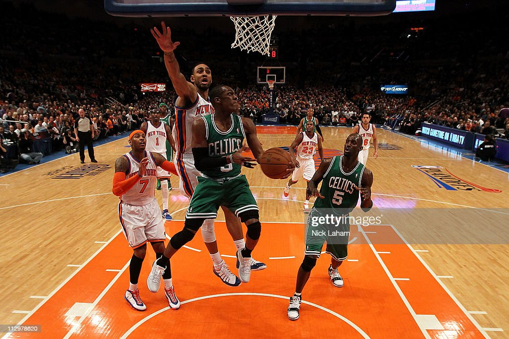 Rajon Rondo #9 of the Boston Celtics drives for a shot attempt against Jared Jeffries #9 of the New York Knicks in Game Three of the Eastern Conference Quarterfinals in the 2011 NBA Playoffs on April 22, 2011 at Madison Square Garden in New York City.