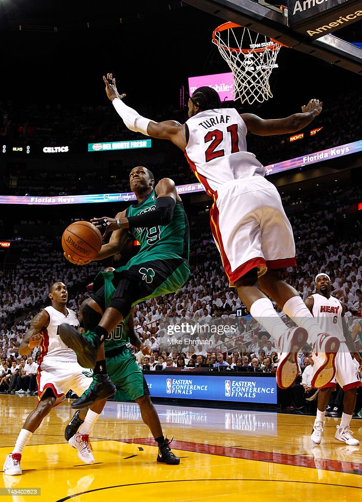 Rajon Rondo #9 of the Boston Celtics drives for a shot attempt in the first quarter against Ronny Turiaf #21 of the Miami Heat in Game One of the Eastern Conference Finals in the 2012 NBA Playoffs on May 28, 2012 at American Airlines Arena in Miami, Florida.