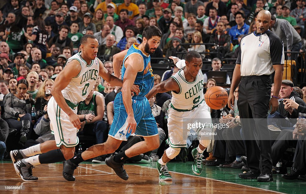 Rajon Rondo #9 of the Boston Celtics drives the ball against the New Orleans Hornets on January 16, 2013 at the TD Garden in Boston, Massachusetts.