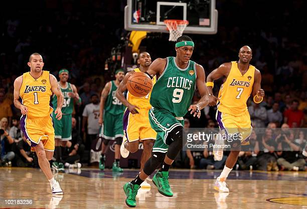 Rajon Rondo of the Boston Celtics drives the ball up court followed by the Los Angeles Lakers in Game Seven of the 2010 NBA Finals at Staples Center...