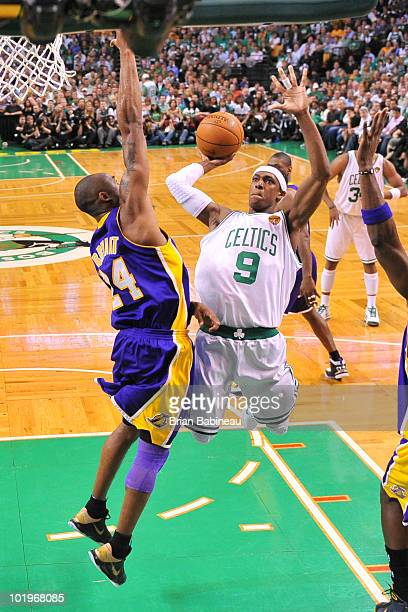 Rajon Rondo of the Boston Celtics drives to the basket against Kobe Bryant of the Los Angeles Lakers in Game Four of the 2010 NBA Finals on June 10...