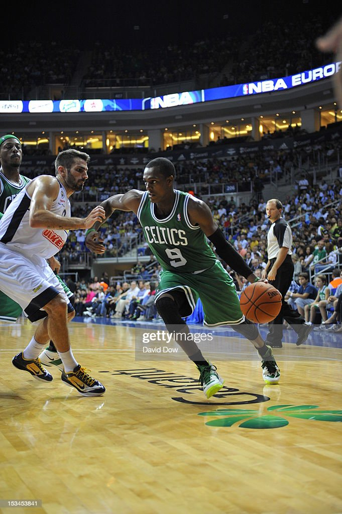<a gi-track='captionPersonalityLinkClicked' href=/galleries/search?phrase=Rajon+Rondo&family=editorial&specificpeople=206983 ng-click='$event.stopPropagation()'>Rajon Rondo</a> #9 of the Boston Celtics drives to the basket against the Fenerbahce Ulker during the NBA Europe Live Tour on October 5, 2012 at the Ulker Sports Arena in Istanbul, Asia.