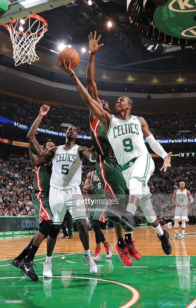 Rajon Rondo #9 of the Boston Celtics drives to the basket against the Milwaukee Bucks on November 2, 2012 at the TD Garden in Boston, Massachusetts.